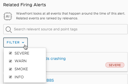 Related Firing Alerts section supports filters