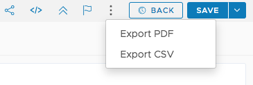 Export PDF or CSV from chart in Edit mode