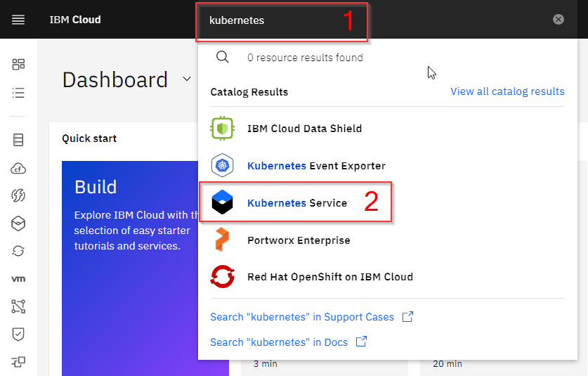 kubernetes shown in search box and selected