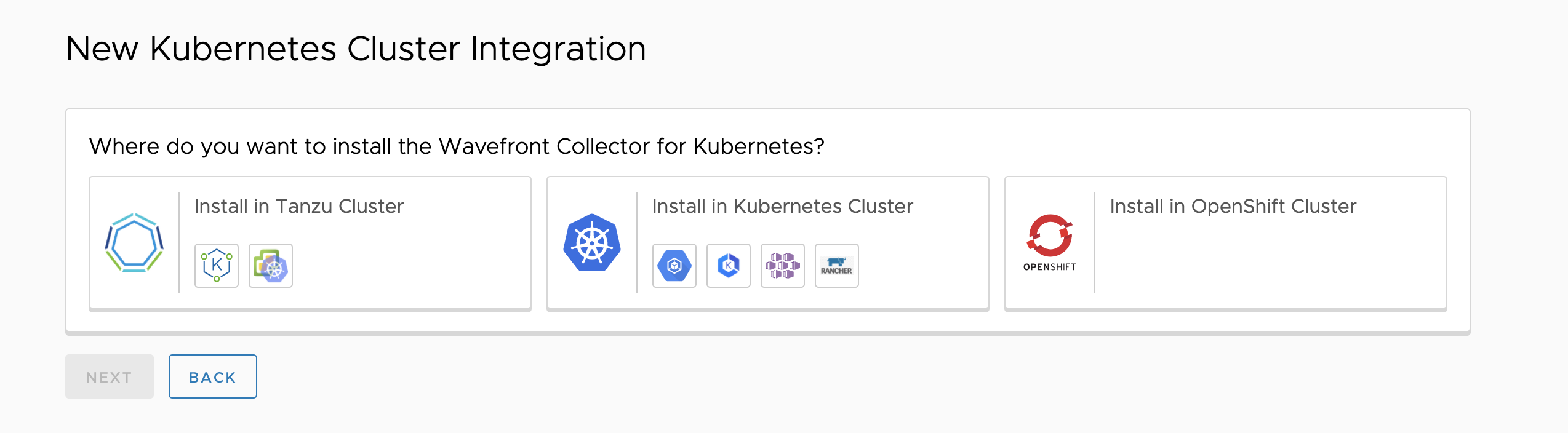 screenshot showing options to install in Tanzu, Kubernetes, or Openshift cluster