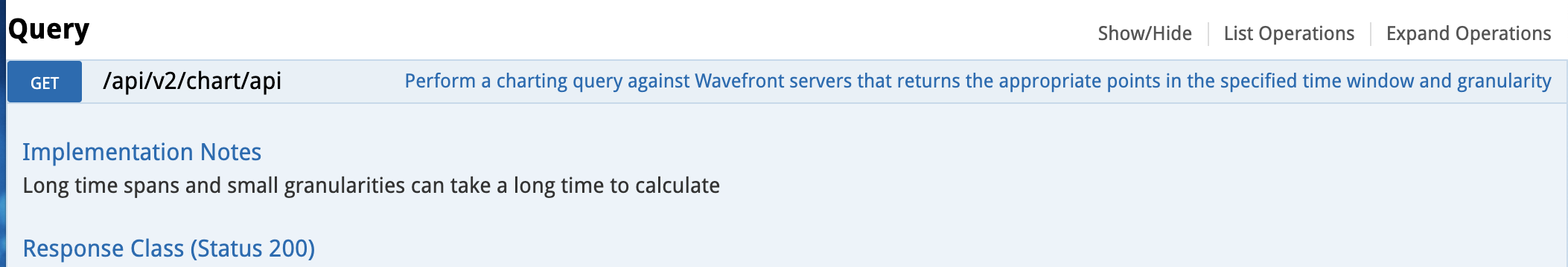 UI image showing where the API is on the Wavefront Swagger UI.